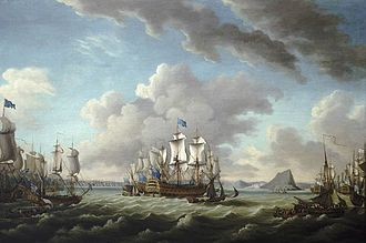 HMS Latona (1781) - Relief of Gibraltar by Earl Howe, 11 October 1782, by Richard Paton