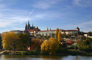 St. Vitus Cathedral - View of the Cathedral and Prague Castle, above the river Vltava.