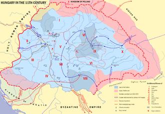 Duchy (Kingdom of Hungary) - Hungary in 1102 - Ducatus (Tercia pars regni) in darker blue