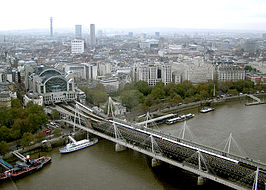 De Hungerford bridges gezien vanuit de London Eye