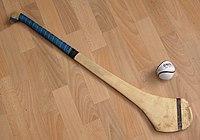 Camán and sliotar (hurling stick and ball)