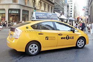 English: Toyota Prius taxi in Manhattan, New Y...