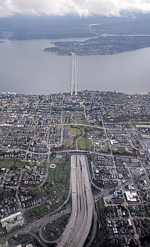 Mount Baker Tunnel - Aerial view of I-90 in Seattle, including the Mount Baker Tunnel and the two parallel bridges to Mercer Island: the Homer M. Hadley Memorial Bridge (left) and the Lacey V. Murrow Memorial Bridge (right)