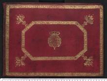 Domenico Scarlatti, Einband des Manuskriptbandes 1752/1, vermutl. ehemals im Besitz der Maria Bárbara, Königin von Spanien; heute in Venedig, Bibl. Marciana, (I-Vnm Mss.It.IV.199-213) (Quelle: Wikimedia)