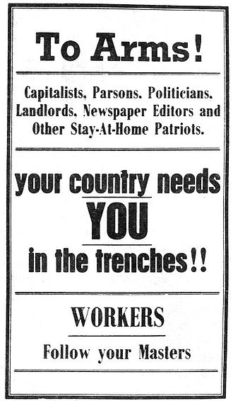 1916 Australian conscription referendum - A poster for the anti-conscription 'No' campaign by the Industrial Workers of the World, 1916