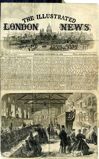 Lincoln College of Art - Front page of The Illustrated London News, 26 November 1864, featuring an illustration of an exhibition of students' work.