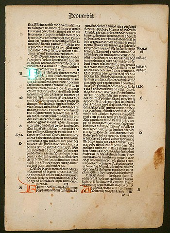 Page of a rare black-letter Bible, 1497, print...