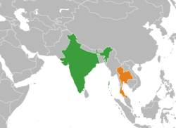 Map indicating locations of India and Thailand