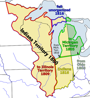 Indiana Territory's at-large congressional district - The Indiana Territory shown between 1800 and 1819.