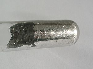 Indium - Indium wetting the glass surface of a test tube