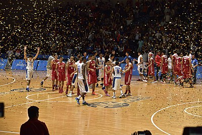 The Indonesian And Philippine Mens Basketball Team Just After The Finals Of The Mens Basketball Tournament Of The  Southeast Asian Games