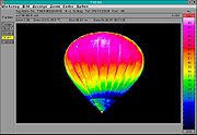 Thermal image showing temperature variation in a hot air balloon.