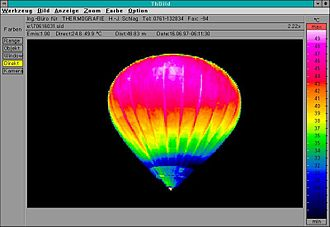 Thermographic camera - A thermal image showing temperature variation in a hot air balloon.