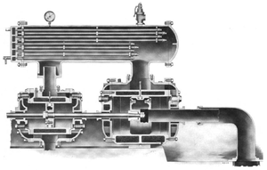 Intercooler - The intercooler (top) of this 1910 Ingersoll Rand air compressor extracts waste heat between the two compressor stages.