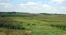 Corn and soybean fields and pastures on rolling, hilly terrain.