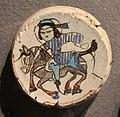 Iran o anatolia, frammento di piatto o mattonella con scena figurata, 1190-1210 ca. 03 cavaliere.JPG