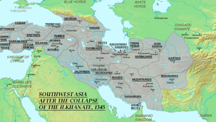 The Middle East in 1345, ten years after the death of Abu Sa'id. The Jalayirids, Chobanids, Muzaffarids, Injuids, Sarbadars, and Kartids took the Ilkhanate's place as the major powers in Iran. IranaftertheIlkhanate.png