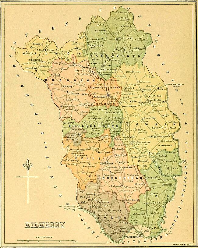 Map Of Ireland Showing Kilkenny.Galmoy Barony Wikipedia