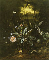 Isac Vromans - Stil life with snake eating newly hatched bird out of a nest among flowers in a forest floor with a frog, mouse and insects 1703.jpg