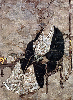 Iwasa Matabei - Self-portrait, unusually early for Japanese art, said to have been painted as he was dying in 1650