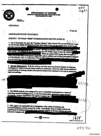 Heavily redacted US Department of Defense memo discussing SERE techniques used at Guantanamo JTF GTMO 'SERE' interrogation SOP dtd 10 Dec 02.pdf