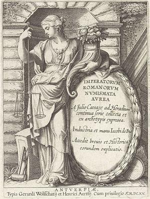 Charles III de Croÿ - Frontispiece of Jacob de Bie's Imperatorum Romanorum Numismata Aurea a Julio Cæsare Ad Heraclium Continua Serie Collecta on de Croÿ's coin collection
