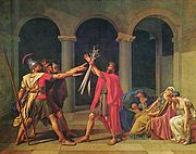 Jacques-Louis David: O juramento dos Hor�cios, 1784, Louvre. Obra capital do neoclassicismo e do academismo franc�s, inspirador do modelo brasileiro em sua primeira fase