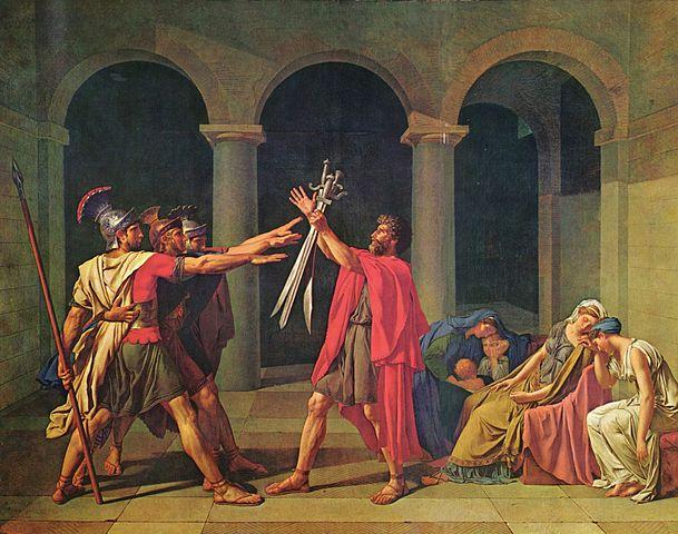 Жак-Луи Давид. «Клятва Горациев», 1784. Литературным источником для сюжета картины послужил Ливий.