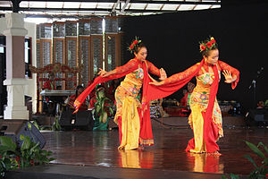 Taman Mini Indonesia Indah - The Jaipongan dance performance in West Java pavilion in TMII.