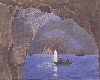 Blue Grotto (Capri) - Painting by Jakob Alt, 1835–36