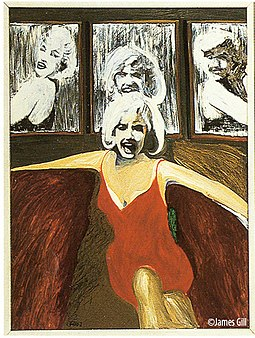 "Left panel from pop artist James Gill's painting Marilyn Triptych (1962) James Gill's ""Marylin Tryptich"".jpg"