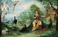Jan van Kessel (Umkreis) Landschaft mit Paradiesvögeln Tieren und Allegorie.png