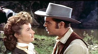Robert Wagner - Jean Peters with Wagner in Broken Lance (1954)