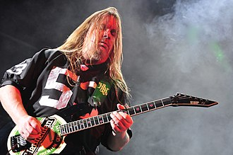Slayer - Jeff Hanneman was the guitarist of Slayer for 30 years, from 1981 to 2011. He was the main songwriter along with Kerry King, as well as a lyricist.