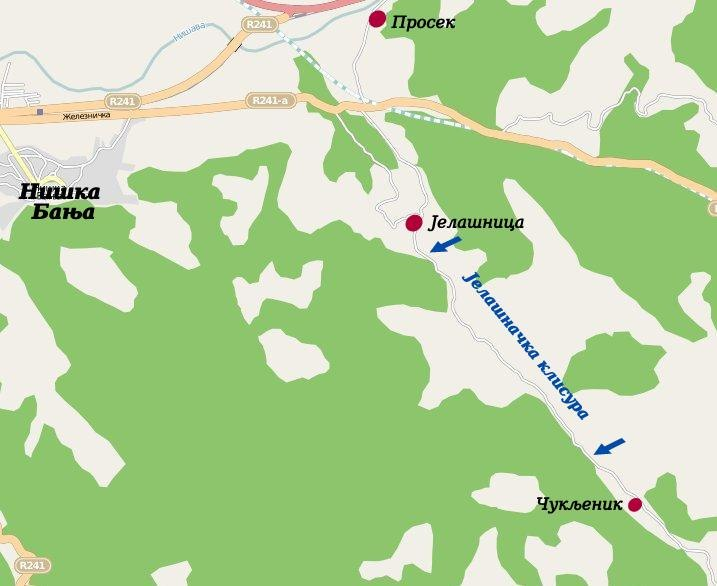Jelašnička klisura, mapa