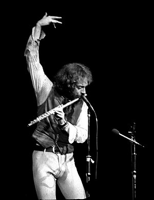 Ian Anderson - Anderson performing with Jethro Tull, Maple Leaf Gardens, Toronto, Canada 24 March 1977.
