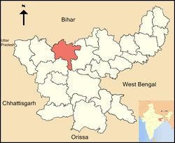 Location of Chatra district in Jharkhand