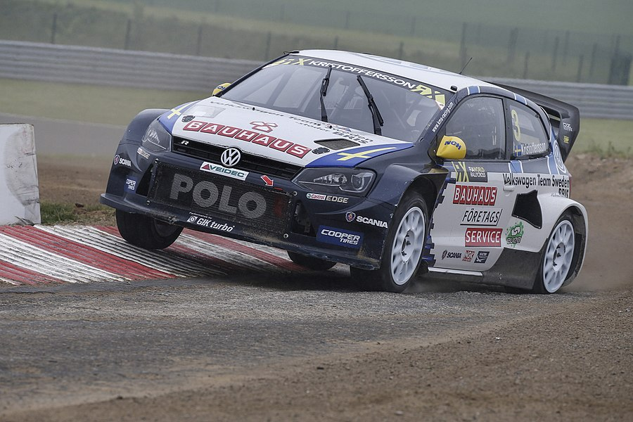 Swedish rallycross driver Johan Kristoffersson in his VW Polo Supercar. Round 3 of the 2015 FIA World Rallycross Championship, at Circuit Jules Tacheny Mettet, Belgium.
