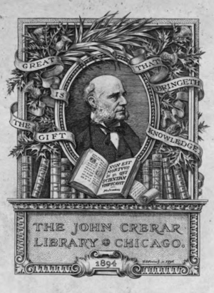Clement Walker Andrews - Bookplate from the John Crerar Library