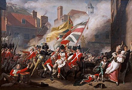 Black Loyalist soldiers fought alongside British regulars in the 1781 Battle of Jersey, from The Death of Major Peirson. John Singleton Copley 001.jpg