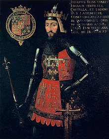 Late 15th century portrait of John of Gaunt, also depicting his coat of arms