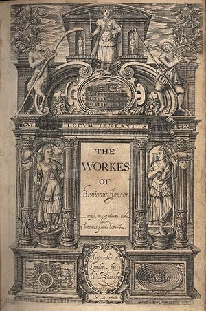 Ben Jonson - Title page of The Workes of Beniamin Ionson (1616), the first folio publication that included stage plays