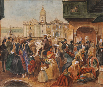 Lima's main square, c. 1843. Throughout its history, Peruvian society has been diverse. Juan Mauricio Rugendas - Study for Lima's Main Square - Google Art Project.jpg