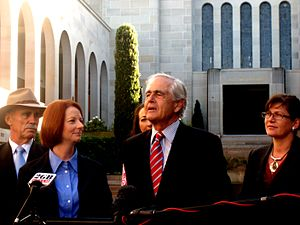 Steve Gower - Gower (at centre) with Warren Snowdon, Prime Minister Julia Gillard, Gai Brodtmann and Senator Kate Lundy at an announcement of additional government funding for the AWM in 2011