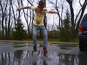 English: freedom in the rain.
