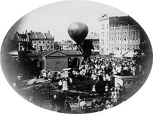 Airmails of the United States - Wise ascends on the first United States balloon airmail from Lafayette, Indiana, in 1859.