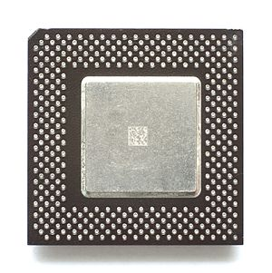 Celeron - Top of a Mendocino-core Socket 370 Celeron (PPGA package)