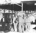 Kalakaua entertaining Prince Henri de Bourbon and his princess while they were traveling incognito in Lahaina, Maui, October 1889.jpg