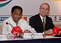 "Kamal Nath and the Minister of Industry, Tourism and Trade of Spain, Mr. Miguel Sebastian at the bilateral meeting during the ""India-Spain Investment and Business cooperation Forum"", in New Delhi on December 11, 2008.jpg"