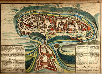 Kamianets-Podilskyi - A 1691 French map depicting the city's old town neighbourhood and castle, surrounded by the winding Smotrych River